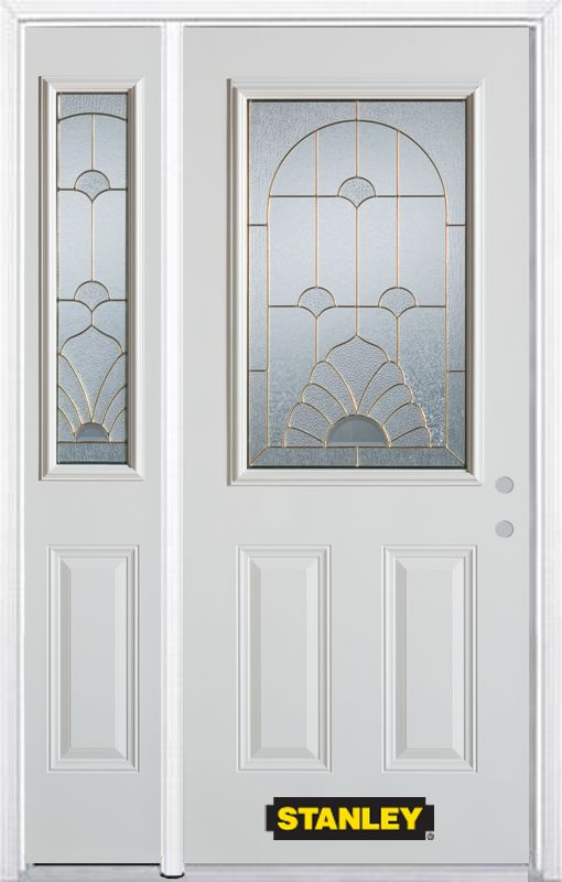 50-inch x 82-inch Florentine 1/2-Lite 2-Panel White Steel Entry Door with Sidelite and Brickmould