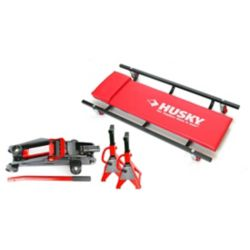 HUSKY Floor Jack with Creeper and Jack Stands (4-Piece)