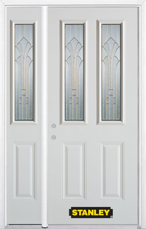 52-inch x 82-inch Gladis 2-Lite 2-Panel White Steel Entry Door with Sidelite and Brickmould