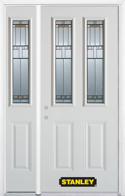 50-inch x 82-inch Chicago 2-Lite 2-Panel White Steel Entry Door with Sidelite and Brickmould