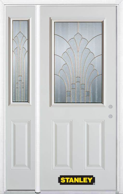 50-inch x 82-inch Gladis 1/2-Lite 2-Panel White Steel Entry Door with Sidelite and Brickmould