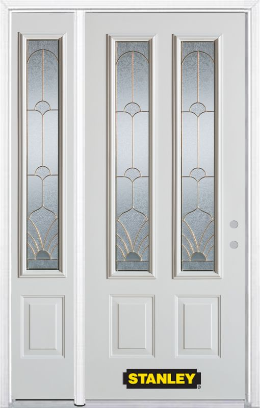 48-inch x 82-inch Florentine 2-Lite 2-Panel White Steel Entry Door with Sidelite and Brickmould