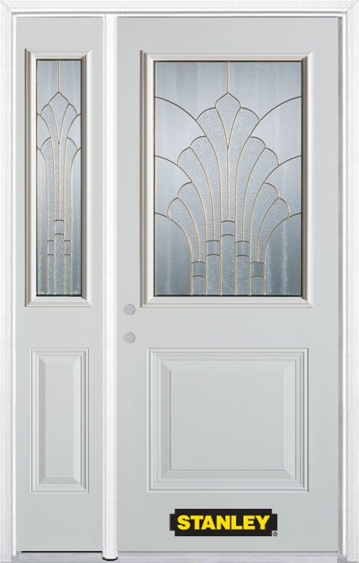 Stanley Doors 50.25 inch x 82.375 inch Gladis Brass 1/2 Lite 1-Panel Prefinished White Right-Hand Inswing Steel Prehung Front Door with Sidelite and Brickmould - ENERGY STAR®