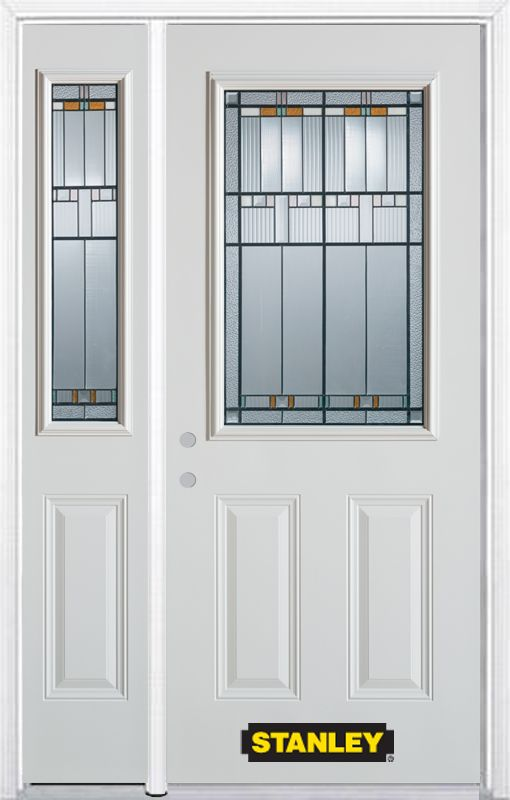 48-inch x 82-inch Chicago 1/2-Lite 2-Panel White Steel Entry Door with Sidelite and Brickmould