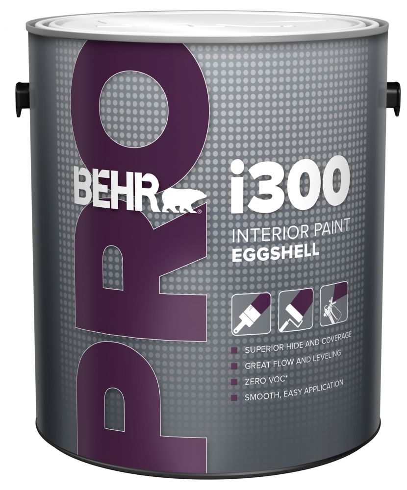 Behr Pro BEHR PRO i300 Series, Interior Paint Eggshell - Medium Base, 3.79 L