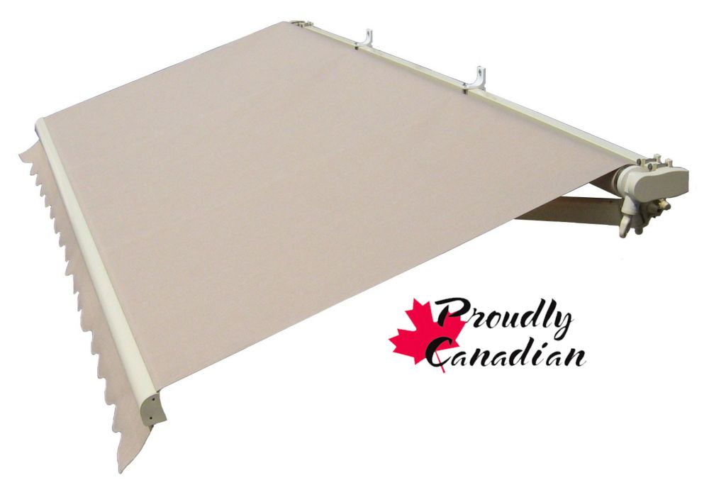 Retractable Patio Awning 12 Ft x 10 Ft. Manual, Solid Beige