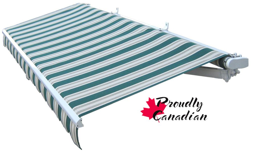Retractable Patio Awning 12 Ft x 10 Ft. Manual, Green/Beige Stripes