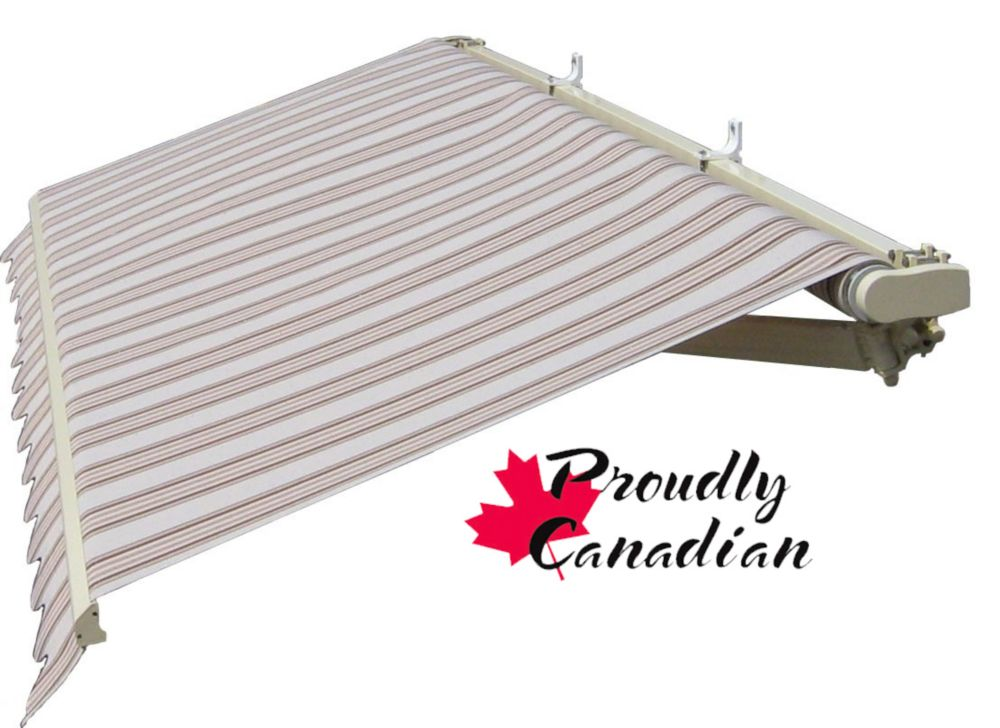 Auvent rétractable manuel pour terrasse, 14 pi x 11 pi 8 po, brun et beige rayé