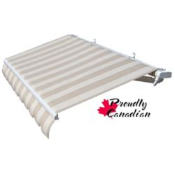 Rolltec 10 ft. Motorized Retractable Patio Awning (8 ft. 8-inch Projection) in Beige Stripes