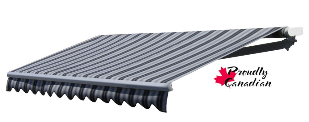 Retractable Patio Awning 12 Ft x 10 Ft. Motorized, Black/Grey Stripes