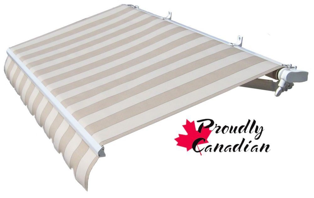 Retractable Patio Awning 14 Feet X 11 Feet 8 Inch Motorized, Beige Stripes