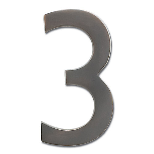 """Solid Cast Brass 4 inch Floating House Number Dark Aged Copper """"3"""""""