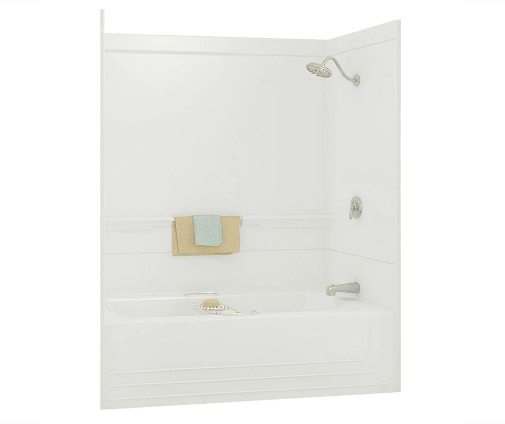 Monaco -Baignoire-douche 2 pièces en fibre de verre blanche avec drain à gauche