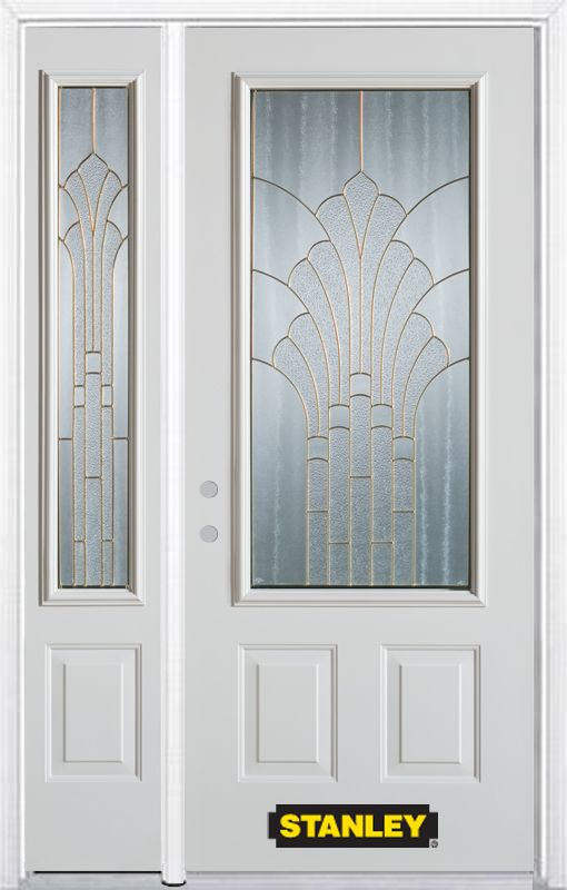 50-inch x 82-inch Gladis 3/4-Lite 2-Panel White Steel Entry Door with Sidelite and Brickmould