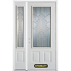 Stanley Doors Porte dentrée en acier préfini en blanc, munie de deux panneaux et dun 3/4 verre, 51 po x 82 po avec panneaux latéraux et moulure de brique