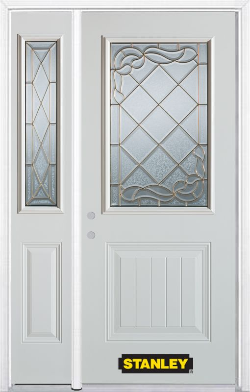 52-inch x 82-inch Queen Anne 1/2-Lite 1-Panel White Steel Entry Door with Sidelite and Brickmould