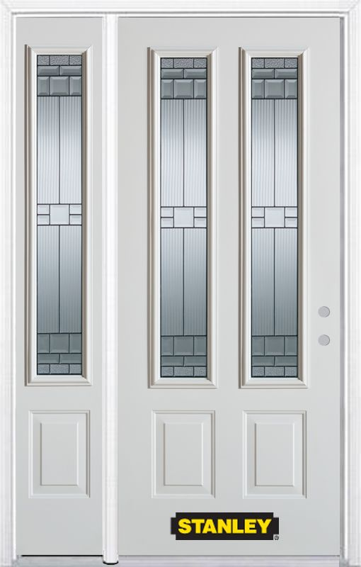 50-inch x 82-inch Seattle 2-Lite 2-Panel White Steel Entry Door with Sidelite and Brickmould