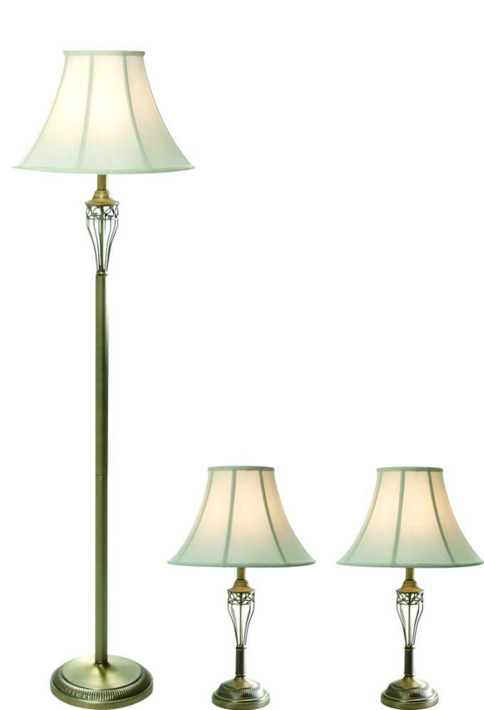 Set De 3 Lampes Riviera Fini Laiton Antique Mat