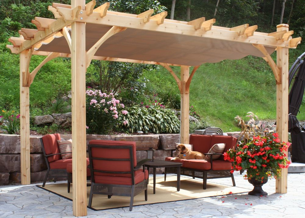 10 ft. x 12 ft. Breeze Pergola with Retractable Canopy Kit in Driftwood
