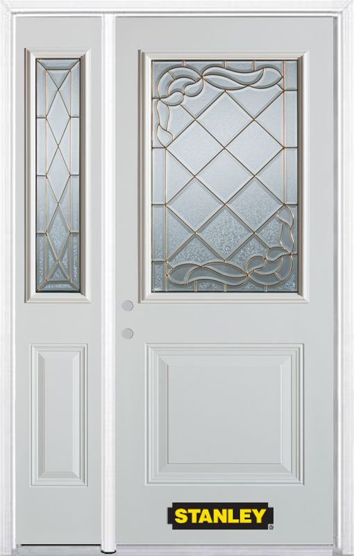 50-inch x 82-inch Queen Anne 1/2-Lite 1-Panel White Steel Entry Door with Sidelite and Brickmould