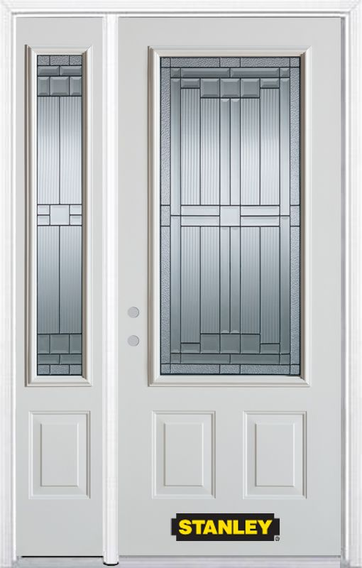 50-inch x 82-inch Seattle 3/4-Lite 2-Panel White Steel Entry Door with Sidelite and Brickmould