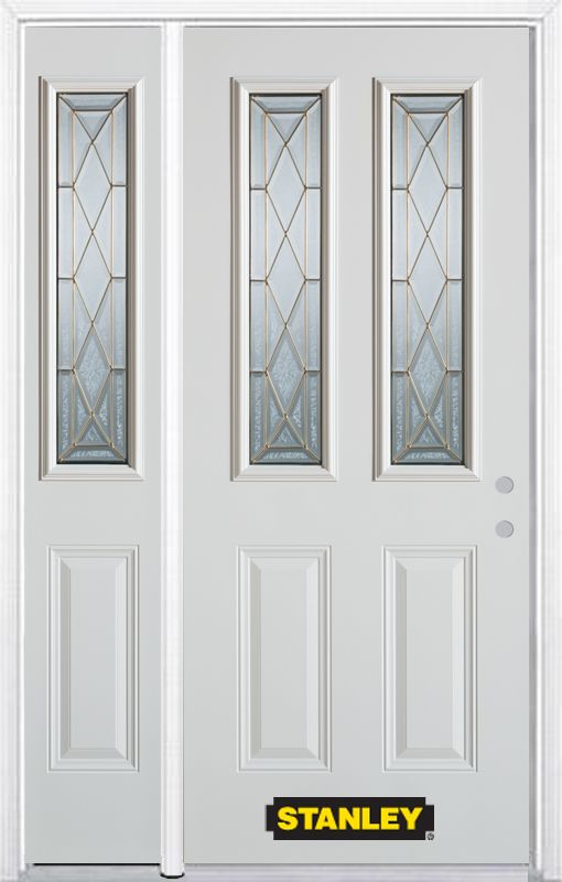52-inch x 82-inch Queen Anne 2-Lite 2-Panel White Steel Entry Door with Sidelite and Brickmould