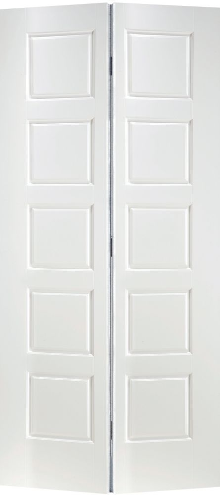 Primed 5-Panel Equal Smooth Interior Closet Bifold Door 36 Inch x 80 Inch