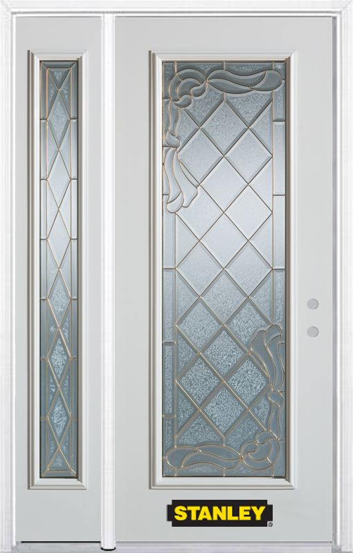52-inch x 82-inch Queen Anne Full Lite White Steel Entry Door with Sidelite and Brickmould
