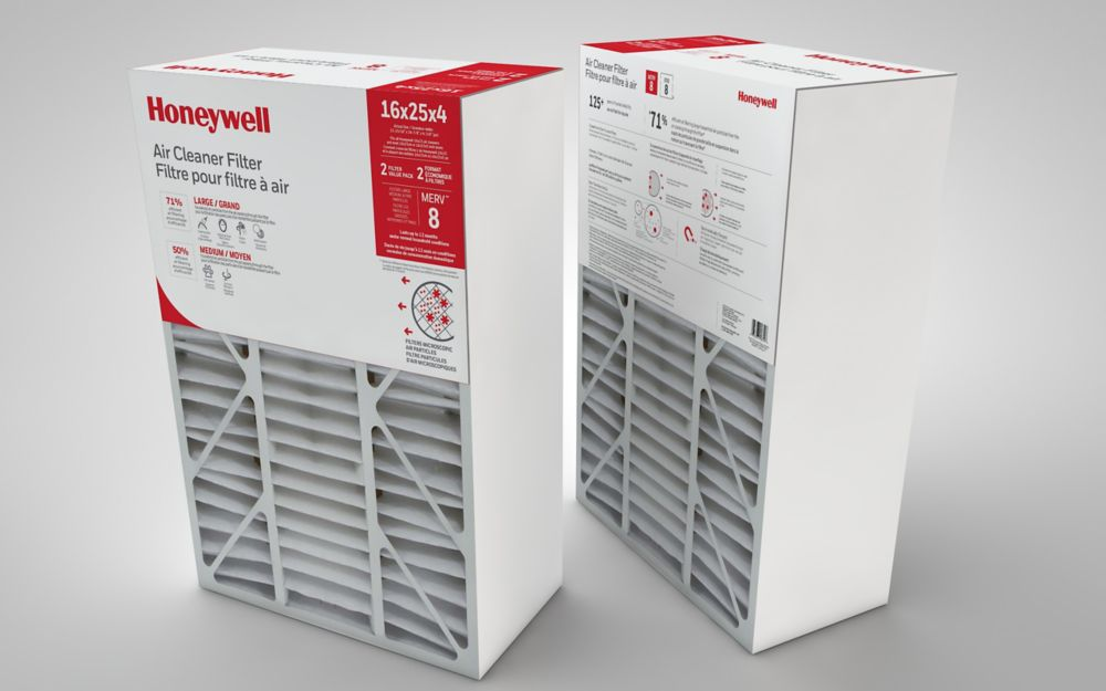 Pack 2 - Filtre de purification de l'air de Honeywell - 16 po.x25 po.x4po.