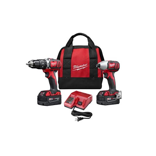 Milwaukee Tool M18 18V Lithium-Ion Cordless 1/2-inch Hammer Drill & 1/4-inch Impact Driver Combo Kit (2-Tool)