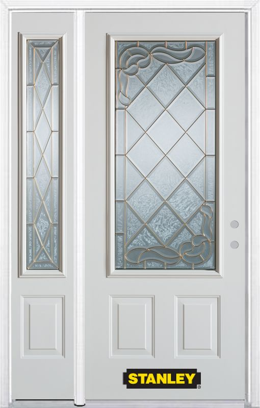 Stanley Doors 52.75 inch x 82.375 inch Queen Anne Brass 3/4 Lite 2-Panel Prefinished White Left-Hand Inswing Steel Prehung Front Door with Sidelite and Brickmould - ENERGY STAR®