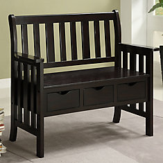 Kansas 40.5-inch x 36-inch x 19.5-inch Solid Wood Frame Bench in Brown