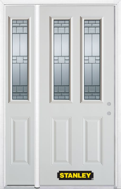 52-inch x 82-inch Seattle 2-Lite 2-Panel White Steel Entry Door with Sidelite and Brickmould