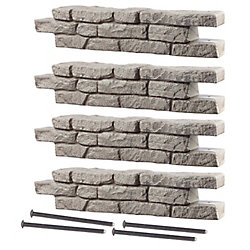 """RTS Home Accents Rock Lock Raised Garden Bed, 4 Straight Pieces & four -18"""" Spikes"""