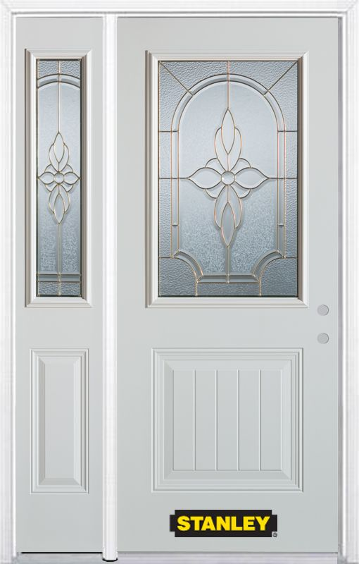 Stanley Doors 52.75 inch x 82.375 inch Trellis Brass 1/2 Lite 1-Panel Prefinished White Left-Hand Inswing Steel Prehung Front Door with Sidelite and Brickmould