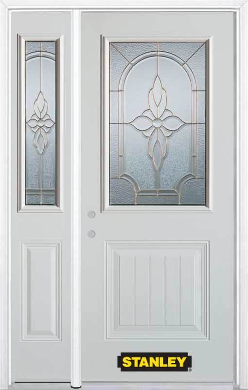 Stanley Doors 52.75 inch x 82.375 inch Trellis Brass 1/2 Lite 1-Panel Prefinished White Right-Hand Inswing Steel Prehung Front Door with Sidelite and Brickmould