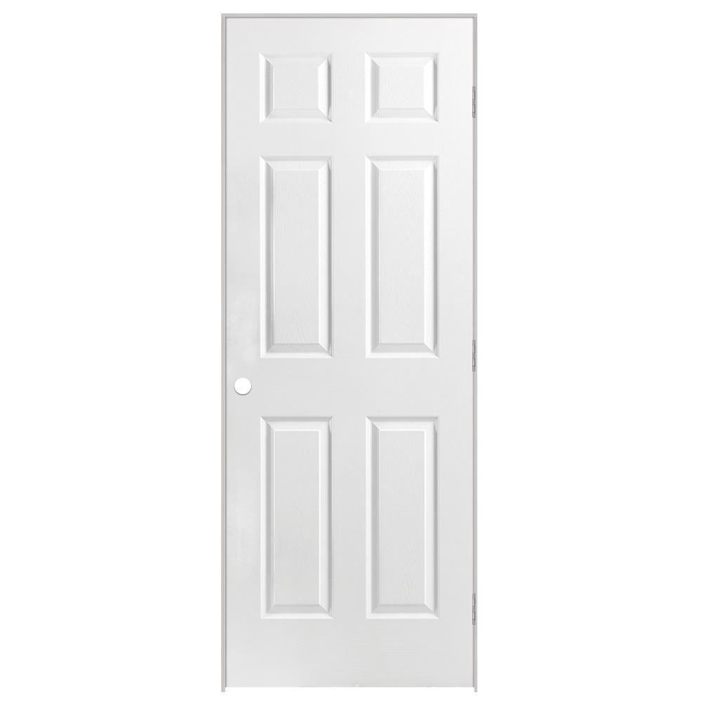 Porte intérieure prémontée acousti-sûre 6 panneaux texturé 28 pouces x 80 pouces ouverture gauche