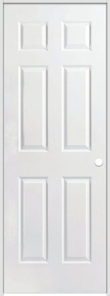 Porte intérieure prémontée acousti-sûre 6 panneaux texturé 32 pouces x 80 pouces ouverture gauche