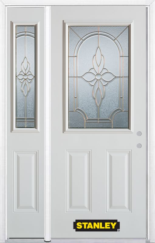 48-inch x 82-inch Trellis 1/2-Lite 2-Panel White Steel Entry Door with Sidelite and Brickmould