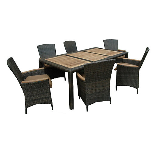 "HERITAGE chestnut-wicker teak 7-Piece dining set w/ cushions, table 42 x 75"""" w/ umbrella pole"