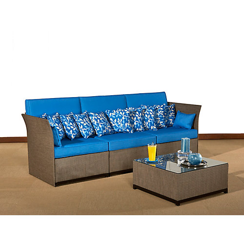 SPAZIO sofa and coffee table aluminum set with glass. Cushion included