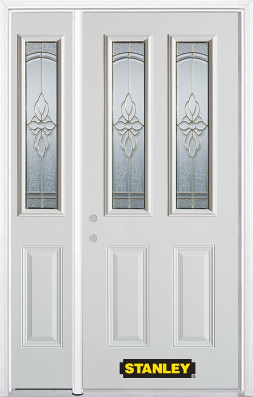 50-inch x 82-inch Trellis 2-Lite 2-Panel White Steel Entry Door with Sidelite and Brickmould