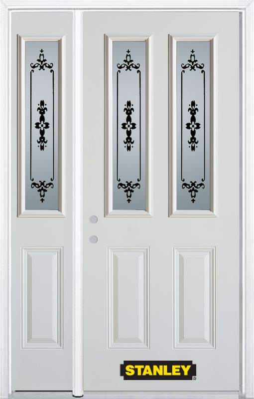52-inch x 82-inch Renoir 2-Lite 2-Panel White Steel Entry Door with Sidelite and Brickmould