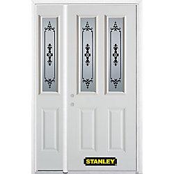 Stanley Doors Porte dentrée en acier préfini en blanc, munie de deux panneaux et de deux verre, 53 po x 82 po avec panneaux latéraux et moulure de brique