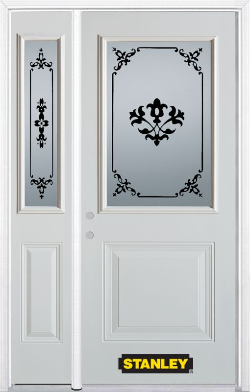 50-inch x 82-inch Renoir 1/2-Lite 1-Panel White Steel Entry Door with Sidelite and Brickmould