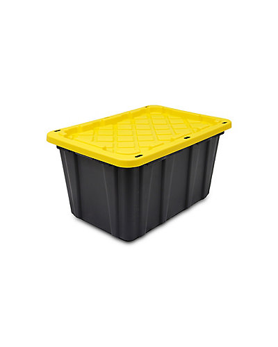 Strong Box Lockable Tote In Black Yellow 102 L