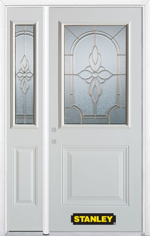Stanley Doors 50.25 inch x 82.375 inch Trellis Brass 1/2 Lite 1-Panel Prefinished White Right-Hand Inswing Steel Prehung Front Door with Sidelite and Brickmould