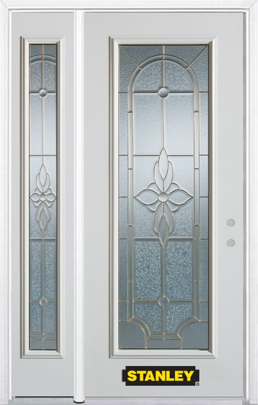 52-inch x 82-inch Trellis Full Lite White Steel Entry Door with Sidelite and Brickmould