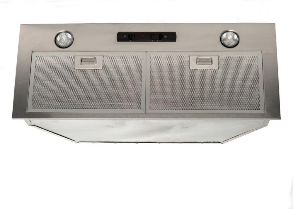 Hotte encastrée, BX215 en acier inoxydable et en 34 po largeur, retangulaire conduits, 550 pci