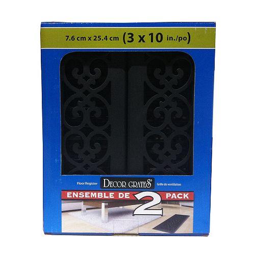 Decor Grates Textured Black Cast Iron Look Steel Floor Registers, 3 Inch x 10 Inch - (2-Pack)